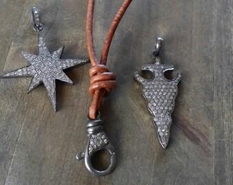 Pave diamond clasp pendant, leather diamond clasp necklace, boho leather layering necklace,add a pendant,coachella styles beachy chic