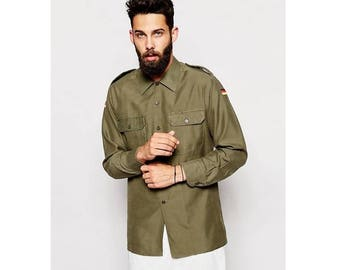 Vintage 1980s German army olive  military shirt khaki jacket Bundeswehr