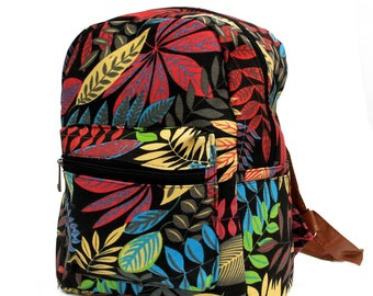 Backpack, jungle, leaf design