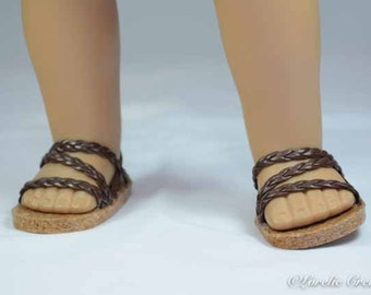 """American Girl 18 inch doll SANDALS SHOES Flipflops in Dark Brown Braided Faux Leather Triple """"Z"""" Straps with Heel Strap"""