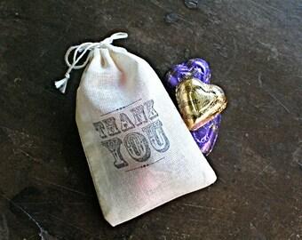 Wedding favor bags, set of 50 hand stamped cotton favor bags, vintage style Thank You, cloth favor bag, bridal shower favor, party favor bag
