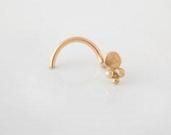 Gold Nose Stud, Gold  Tragus, Gold Nose Ring,Tribal Nose Stud, Nose Piercing,Gold 14k Nose Stud, Cartilage, Tribal Nose Ring, Tragus Earring