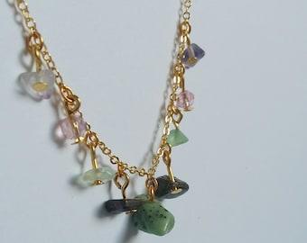 Indian Agate, Laberadorite and Fluorite Gemstone Charm Necklace