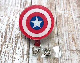 Captain America Shield Superhero Marvel Badge Reel Retractable ID Holder Nurse CNA Technician Mens Womens Comic Pharmacy Name Tag