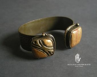 Mokume Gane Brass Cuff Bracelet