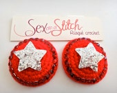 SALE! Red and Silver Star Crocheted Nipple Pasties with tape