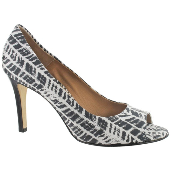 peep pump Made open leather in toe Town and Black Women white pump sandal peep Zebra print Italy toe toe Cape nw4YtqZfF