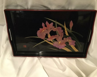 BEAUTIFUL 80's ASIAN black lacquer and gladiolus serving tray