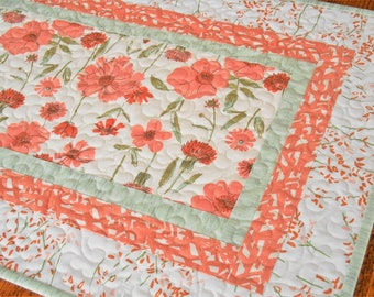 Quilted Floral Table Runner with Dark Peach Flowers and Green Accents, Bedroom Dresser Decor, Dining Table Runner, Bureau Scarf