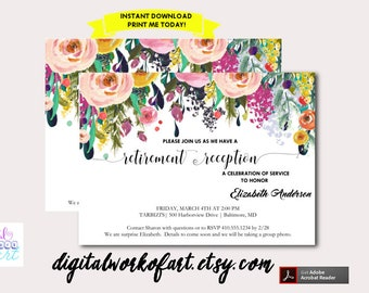 Retirement Reception Invitation Template Printable, DIY Watercolor Floral Invitation, Instant Digital Download Invite, Editable PDF Template
