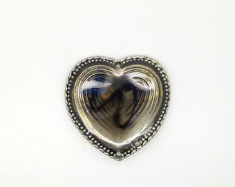 Connector, heart, resin, silver, jewelry