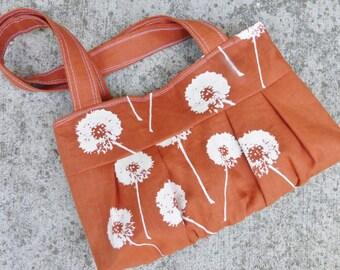 Rust Orange Dandelion Shoulder Bag - Linen - 3 pockets - Key Fob