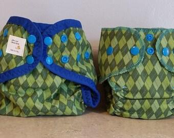 Preemie Newborn Cloth Diaper & Diaper Cover Set-  4 to 9 pounds- Green Argyle- 29007
