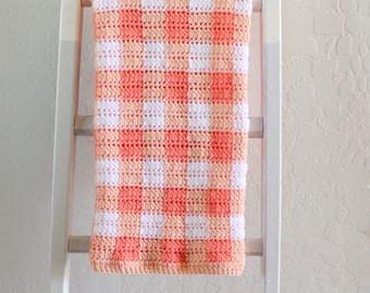 Crochet Cluster Stitch Gingham Blanket Pattern