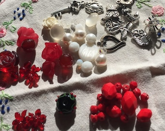 Junk Journal Charm Kit reds, whites and silver tones