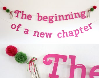 Storybook Shower Theme Banner - 'The beginning of a new chapter' - Pink and Green Garland with Pom Poms and Book Page Tassels