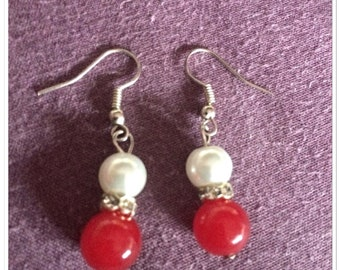 Tibetan silver  white & red ball drop earrings