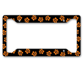 Orange Paw Prints with Hearts - Auto License Plate Frame - LP1408