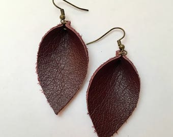 Recycled Leather Leaf Earrings - deep wine