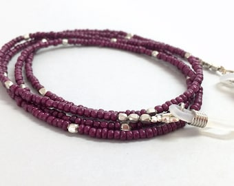 Purple Seed Beads Silver Eyeglasses Chain, Eyeglass Chain,Purple Eyeglass Chain Lanyard, Beaded Eyeglass Necklace, Eye Glass Chain