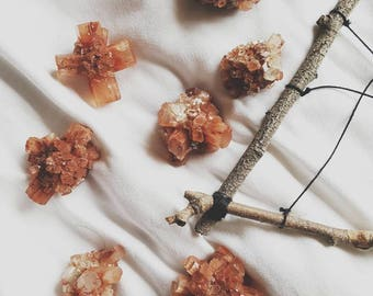 Aragonite crystal cluster, crystal healing cluster, rust with green cluster chakra