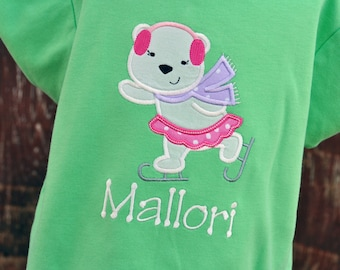 Personalized Ice Skating Polar Bear Girls Shirt / Winter Christmas