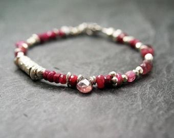 Tourmaline and ruby bracelet, July / October birthstone bracelet, silver dainty bracelet, birthday gift, minimalist gemstone bracelet