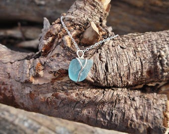 Itty Bitty Aqua Sea Glass Sterling Silver Necklace