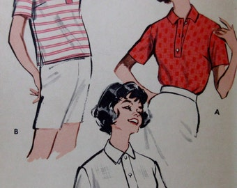Vintage 1950s Butterick 9237  Misses Quick and Easy Polo Shirt Size 14 Bust 34 ** Epsteam