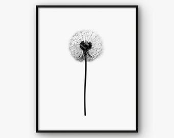 Dandelion Print, Dandelion Wall Art, Black and White Dandelion Poster, Floral Print, Floral Wall Art, Floral Printable, Dandelion Decor,