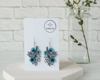 Blue Flowers Pendant Earrings
