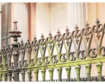 New Orleans, Louisiana, wrought iron fence, shabby chic, fence photography, fine art photography, travel photography, wall art
