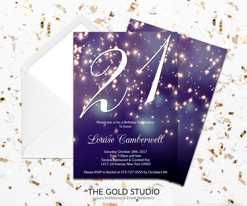 21st Birthday Invitation | Blue Purple Sparkle Glamorous modern 21 ...