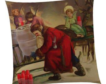 Beer Decor Pillow - Christmas Beer Angels