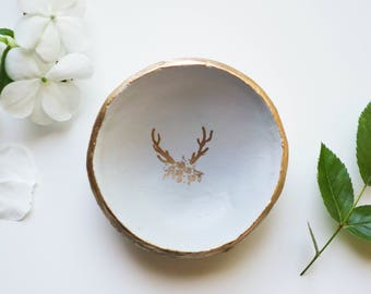 Gold Antlers Jewelry Dish