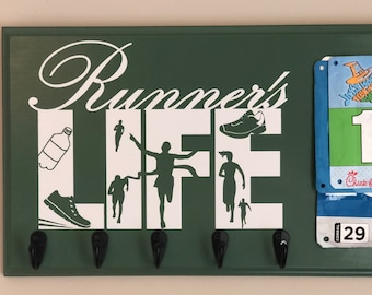 Running Medal Holder Race Bib Display, Runner's Life, Ready to Ship