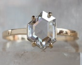 One of a Kind Clear-White Asymmetrical Diamond Engagement Ring