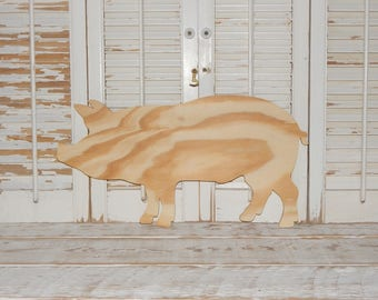 Unfinished Pig Sign Wall Decor Unpainted Natural Wooden Pig Shape D I Y Project Paint Your Own Pig ON SALE