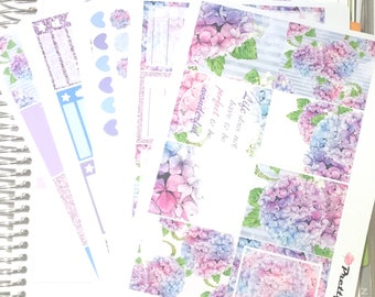 Tiffany Erin Condren vertical planner stickers weekly stickers Hydrangea matte & glossy stickers