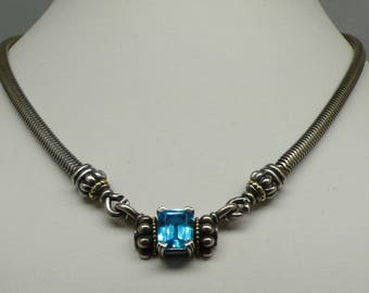 Lagos Caviar 5ct London Blue Topaz .925 Sterling Silver & 18kt Gold Pendant Omega Choker Necklace