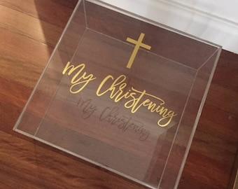 Acrylic Personalised Christening Box , Greek Christening , Keepsake Box , Greek Baptism , Baptism Box , Personalised Acrylic Gift Box