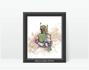 Boba Fett Art Print - Print of Original Artwork - Star Wars Fan Art -  Kamino Bounty Hunter Geekery Gift - Star Wars  Jango Clone Home Decor