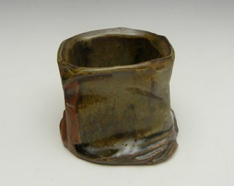 Wood fired, carved stoneware rocks glass