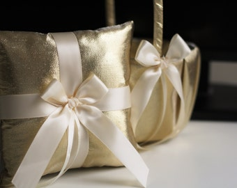 Gold Ring Holder, Gold Ring Bearer Pillow, Gold Flower Girl Basket, Flower Girl Gift, Ring Bearer Gift, Gold Wedding Basket Pillow Set