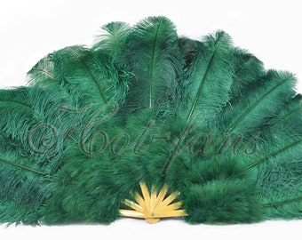 "Forest Green Marabou & Ostrich feathers fan 27""x 53"" Burlesque friend with Travel leather Bag"