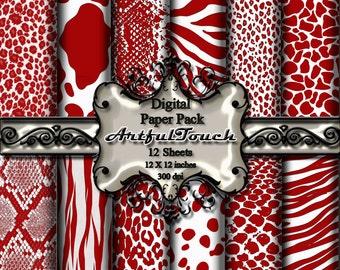 Animal Print Digital Paper Pack, Red Digital Paper Red Animal Print for Scrapbooking, Printable Digital Paper, Red Paper,  INSTANT DOWNLOAD
