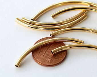 10 pcs Curved Tube Beads, Gold Plated, 40mm - eTC02GP-40