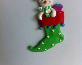 Vintage Christmas ornament . Sock Ornament, Christmas sock Ornament, colorful ornament. / green sock ornament / Christmas sock