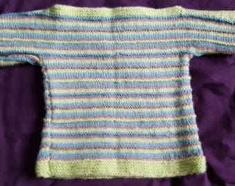 Hand knit childs jumper in  apple green and grey, size 21 inch