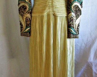 Vintage 1980's Gown Richileen New York Couture Evening Dress Hand Sequined Jeweled Sleeves
